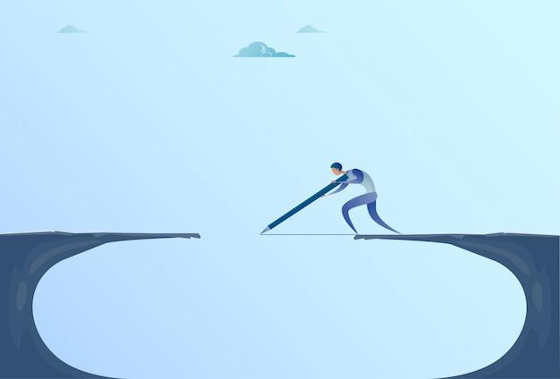 Zakenman drawing bridge walking over cliff gap mountain business man risk concept Premium Vector