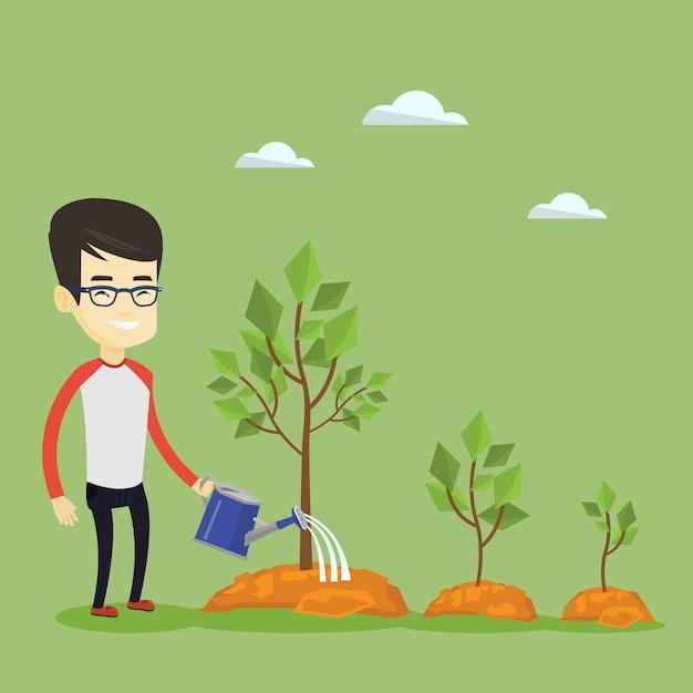 Zakenman drenken bomen Premium Vector