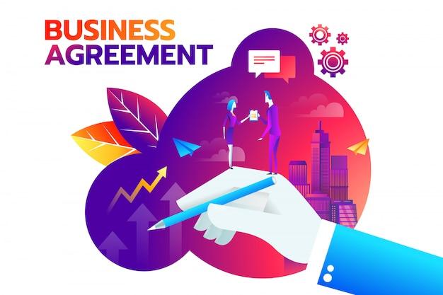 Zakenman en onderneemster het schudden hand en gaat akkoord om contract te ondertekenen. Premium Vector