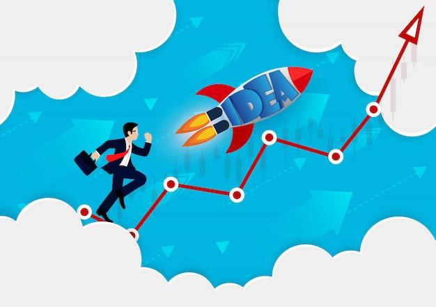 Zakenman en raket uitgevoerd op rode pijl gaan naar het doel Premium Vector