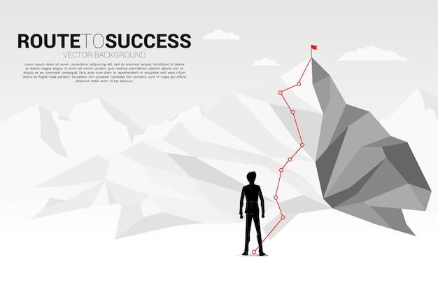 Zakenman en route naar de top van de berg: concept van doel, missie, visie, carrièrepad Premium Vector