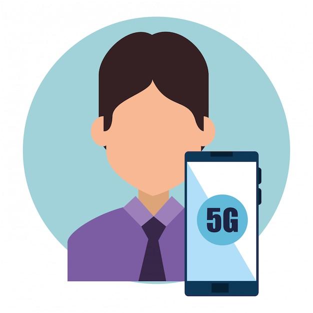 Zakenman en smartphone met connectiviteit 5g technologie Gratis Vector