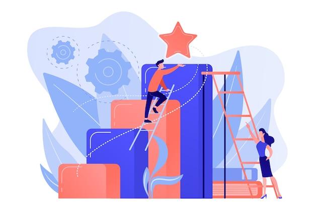 Zakenman en vrouw beginnen ladder te beklimmen. bedrijfs- en carrièreambitie, carrièreambities en -plannen, persoonlijk groeiconcept op witte achtergrond. Gratis Vector