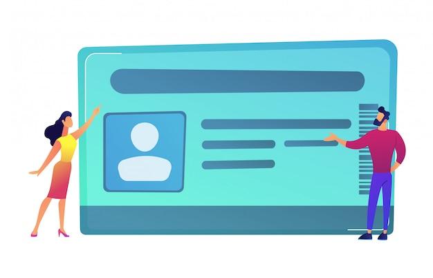 Zakenman en vrouw die op identiteitskaart vectorillustratie richten. Premium Vector