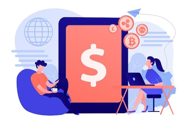 Zakenman en vrouw maken geld over met gadgets. digitale valuta, cryptocurrency-markt, e-geldoverdracht en digitale geldomzet concept illustratie Gratis Vector
