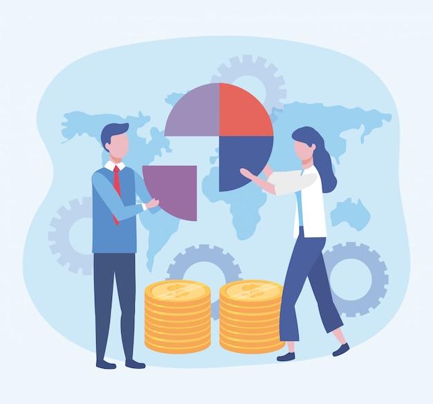Zakenman en zakenvrouw met diagram en munten met versnellingen Gratis Vector