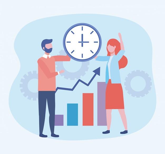 Zakenman en zakenvrouw met klok en statistieken bar Gratis Vector