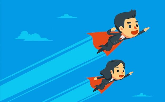 Zakenman en zakenvrouw vliegen in de lucht. Premium Vector