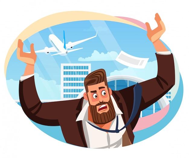Zakenman gemist luchtvaartmaatschappij vlucht cartoon vector Premium Vector