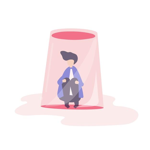 Zakenman gevoel klein en gevangen illustratie Gratis Vector