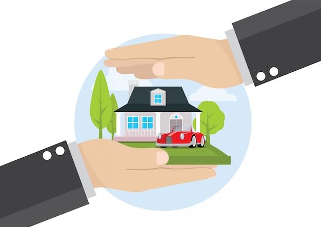 Zakenman hand met home verzekering zakelijke dienstverlening Premium Vector