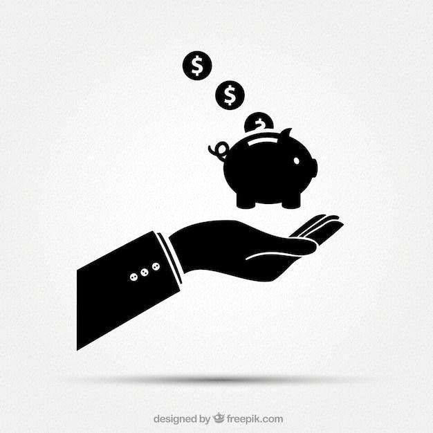 Zakenman hand met spaarpot Gratis Vector