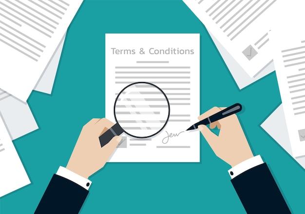 Zakenman handen ondertekenen op het formulier van voorwaarden document, bedrijfsconcept Premium Vector