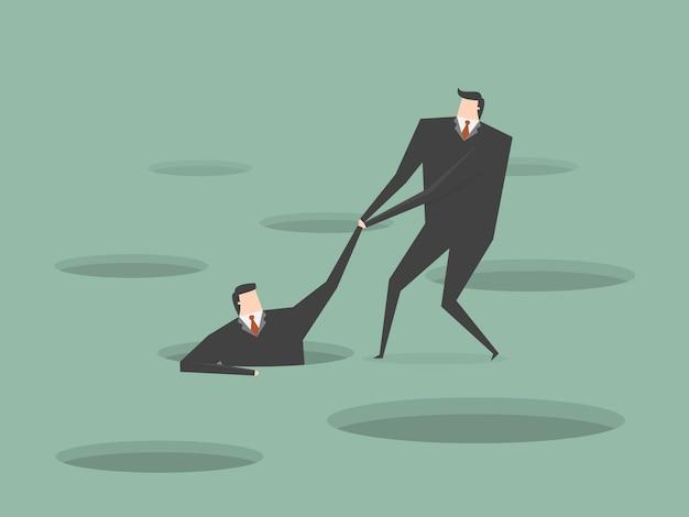 Zakenman het helpen van een andere zakenman Gratis Vector