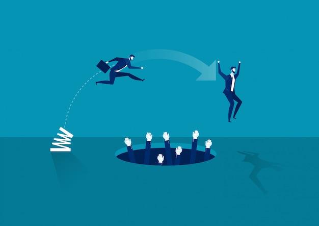 Zakenman hoogspringen over pit. bedrijven en wedstrijden. persoonlijke groei. moeilijkheden te overwinnen. Premium Vector