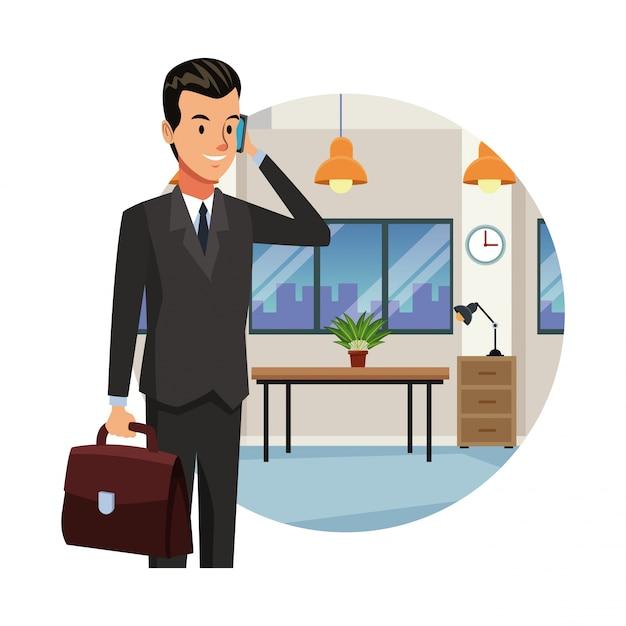 Zakenman in office Premium Vector