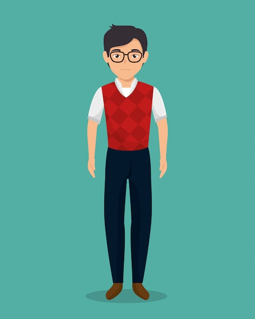 Zakenman karakter avatar geïsoleerd Gratis Vector