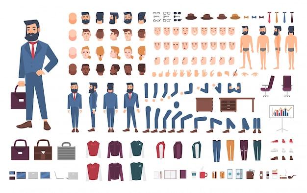 Zakenman karakter constructor. mannelijke bediende creatie set. verschillende houdingen, kapsel, gezicht, benen, handen, accessoires, kledingcollectie. cartoon illustratie. guy, voorkant, zijkant, achteraanzicht. Premium Vector