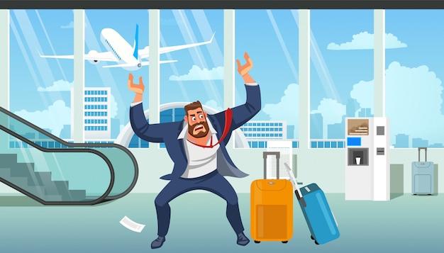 Zakenman laat op vliegtuig cartoon vector Premium Vector