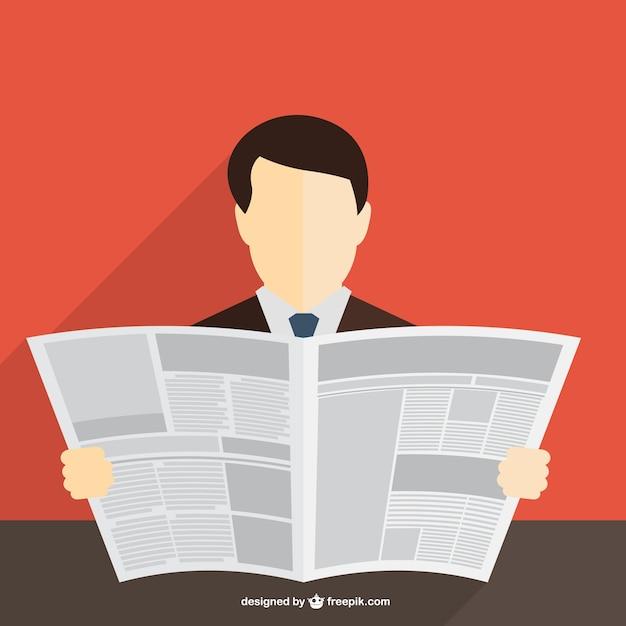 Zakenman lezen van de krant Gratis Vector