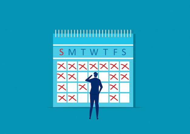 Zakenman maakt notities op kalender. planning werkmaand. plan recordherinneringen. vector illustratie Premium Vector