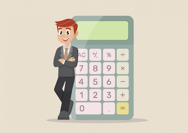 Zakenman met calculator. Premium Vector