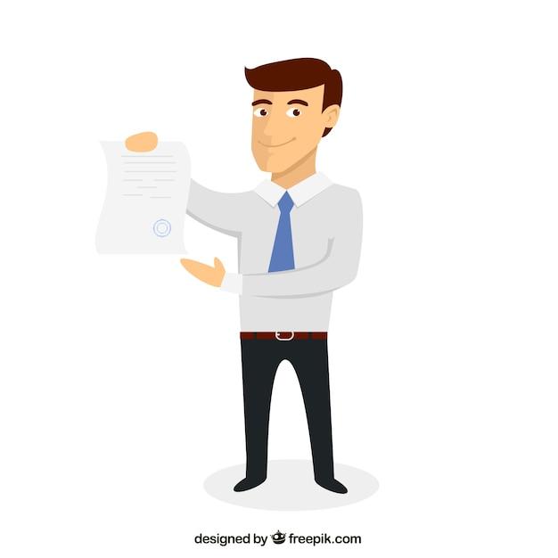 Zakenman met een document Gratis Vector