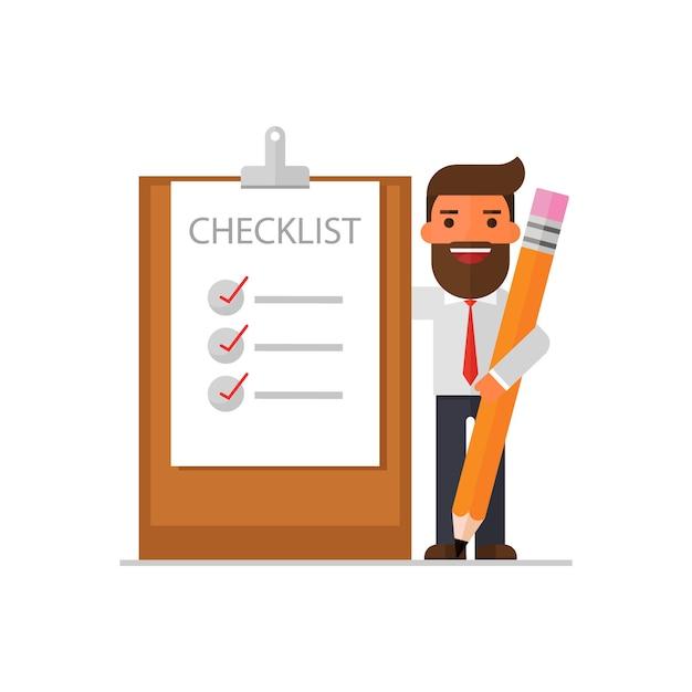 Zakenman met een duidelijke checklist op een klembord Premium Vector