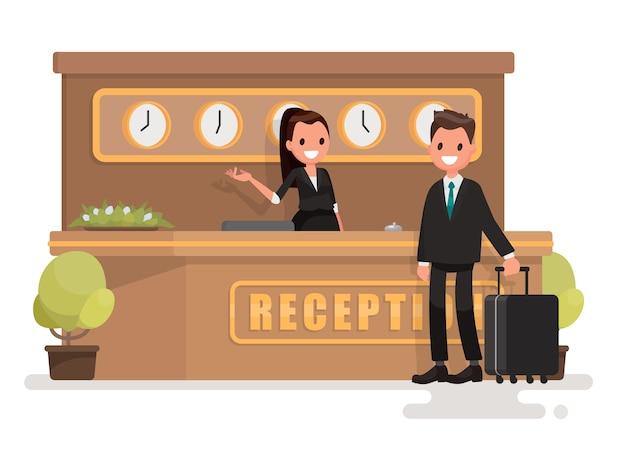 Zakenman met een koffer over de receptie Premium Vector