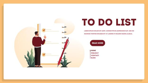 Zakenman met een lange takenlijst. grote taak document. man kijkt naar hun agendalijst. tijd beheer concept. idee van planning en productiviteit. illustratie set Premium Vector