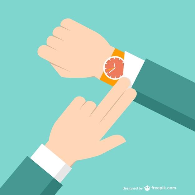 Zakenman met horloge Gratis Vector