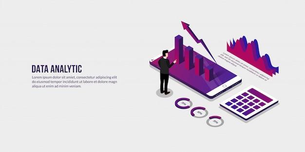 Zakenman met isometrische gegevens analytische conceptelementen Premium Vector