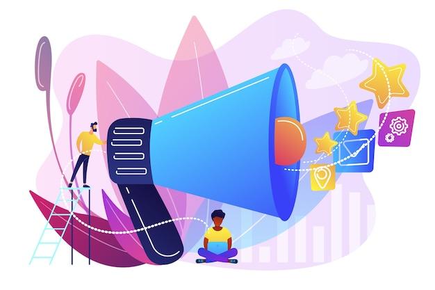 Zakenman met megafoon bevorderen media iconen. verkooppromotie en marketing, promotiestrategie, concept van promotionele producten Gratis Vector