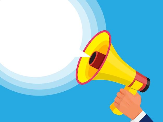 Zakenman met megafoon in de hand. advertentiesjabloon met afbeelding van geluidsspeaker. megafoon- en luidsprekerpromotie of communicatie. vector illustratie Premium Vector
