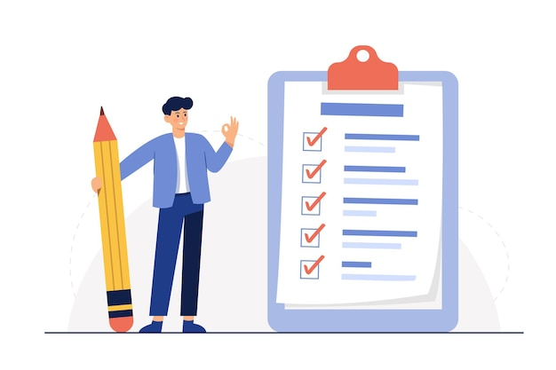 Zakenman met potlood op grote volledige checklist met maatstreepjes Gratis Vector