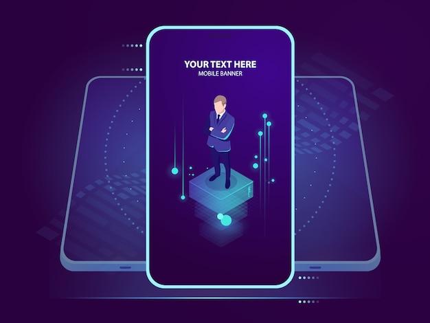 Zakenman op het smartphonescherm Gratis Vector