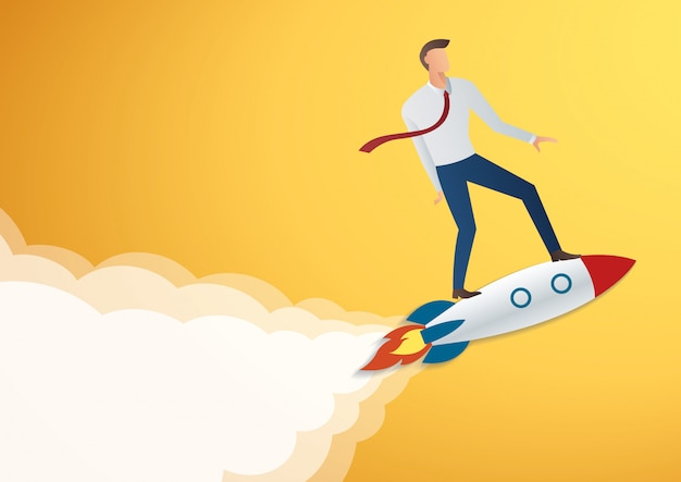 Zakenman op raket vectorillustratie Premium Vector