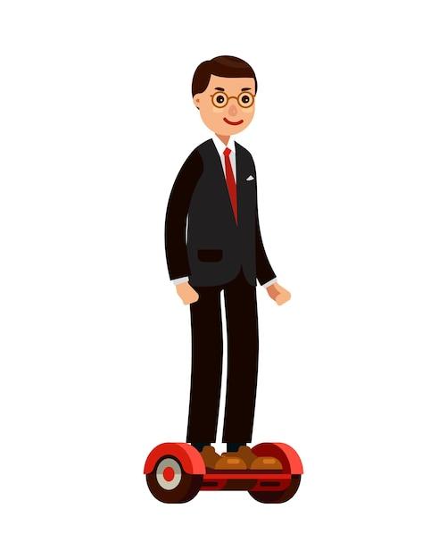 Zakenman op zelfbalancerende scooter Premium Vector