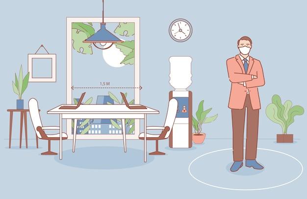 Zakenman permanent in zijn kantoor cartoon overzicht illustratie. man die werkplekken op veilige afstand organiseert. Premium Vector