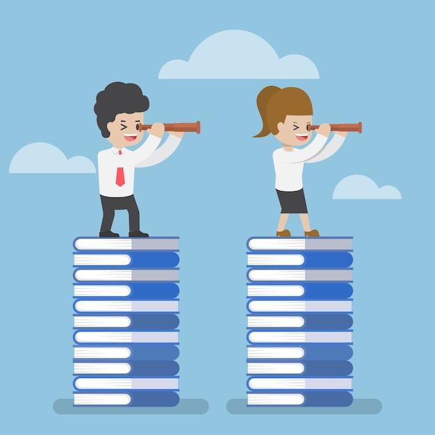 Zakenman permanent op boek en kijken door telescoop, kennis onderwijs en visie concept Premium Vector