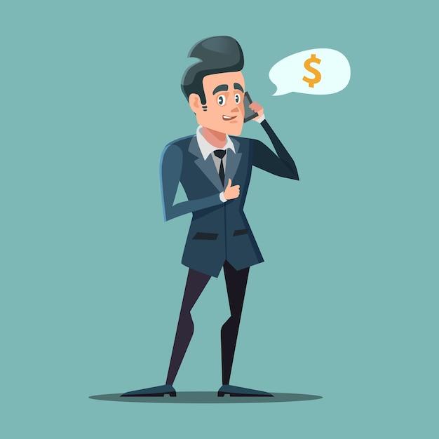 Zakenman praten aan de telefoon met duim omhoog. geld verdienen concept. Premium Vector