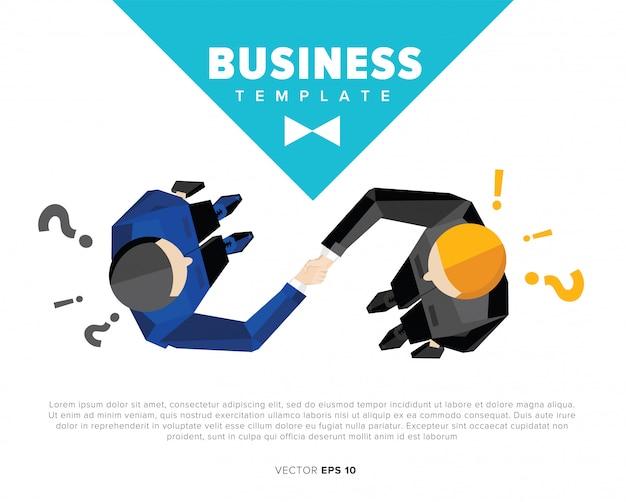 Zakenman schudden handen illustratie sjabloon Premium Vector