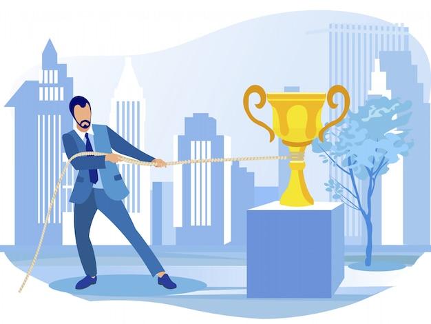Zakenman slepen gouden kampioen prijs omhoog Premium Vector