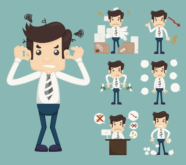 Zakenman stress pressure workplace stick Premium Vector