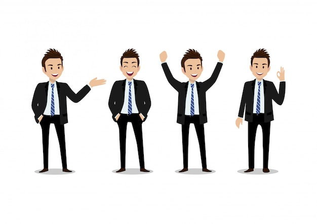 Zakenman stripfiguur, set van vier poses. knappe man in office-stijl slimme pak Premium Vector