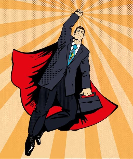 Zakenman super held die met aktentas vliegt Premium Vector