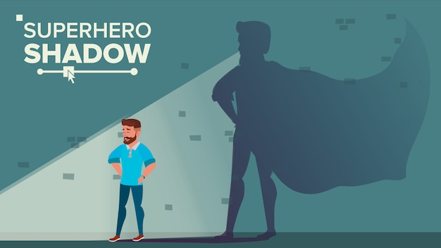 Zakenman superhero shadow Premium Vector