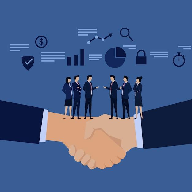 Zakenman team hand schudden onderhandeling. Premium Vector
