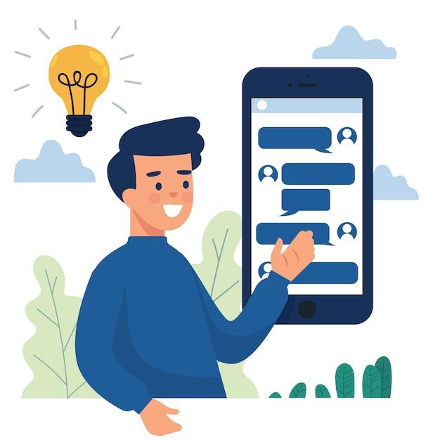 Zakenman toont telefoon met online chat met andere mensen Premium Vector