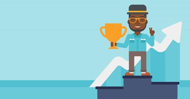 Zakenman trots op zijn zakelijke award. Premium Vector